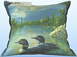 Balsam Pillow - 12x12 - Adirondack Loons (Blues &amp; Greens)